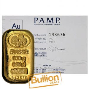 Pamp Suisse (poured) Gold 100 g Bar w cert.jpg